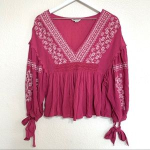 American Eagle Pink Embroidered V Neck Peasant Top